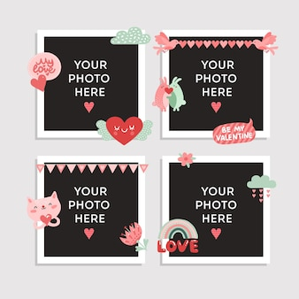 Marco de fotos de amor. diseño del día de san valentín para foto con corazón, pájaro lindo y conejos felices, gato y flor romántica