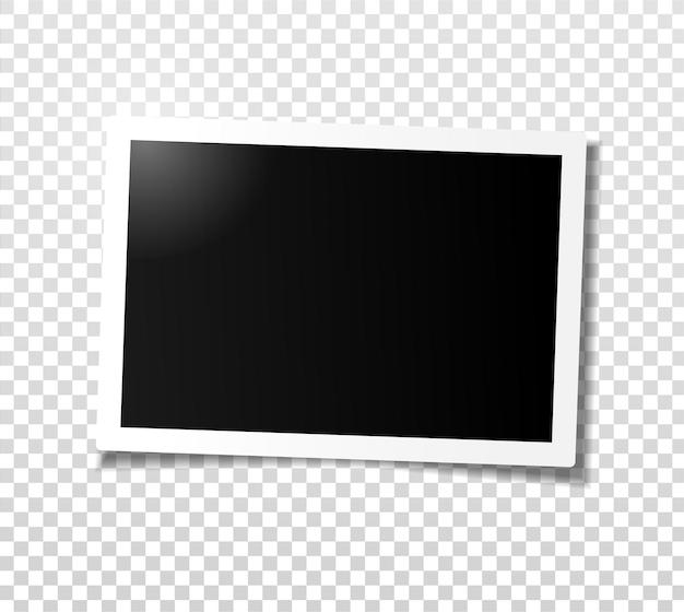 Marco de fotos ancho horizontal con sombra. plantilla para editar. ilustración realista vector de foto vacía con sombra aislada sobre fondo a cuadros gris transparente.