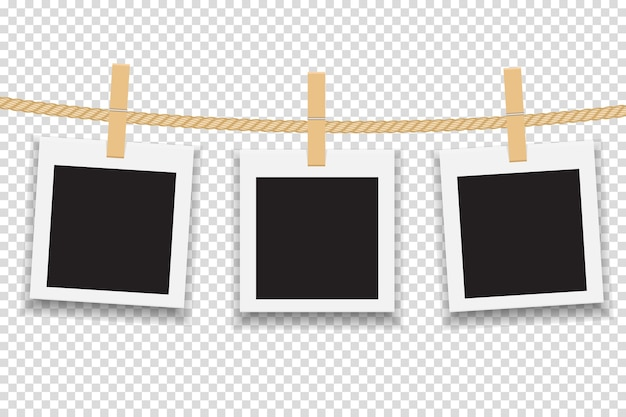Marco de fotos en blanco colgado en línea o cuerda.