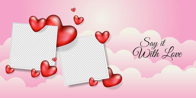 Marco de fotos en blanco con diseño de ilustración de banner de corazón realista