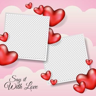 Marco de fotos en blanco con diseño de ilustración de corazón realista