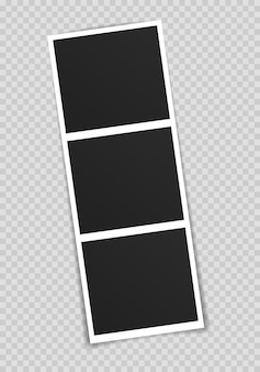 Marco de fotos en cinta adhesiva aislada sobre fondo transparente.