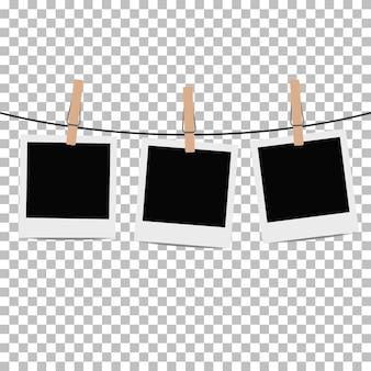 Marco de fotos colgado en cuerda con pinza para ropa en transparente. ilustracion vectorial
