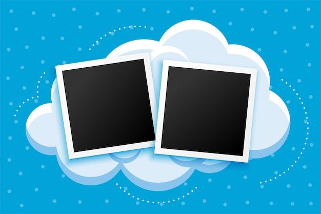 Marco de fotos de estilo de dibujos animados y diseño de fondo de nubes