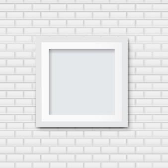 Marco de fotos con fondo de ladrillo blanco