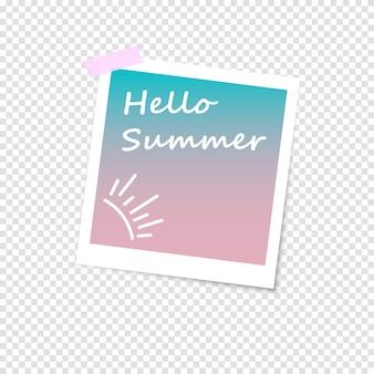 Marco de fotos, imitación foto polaroid. hola verano