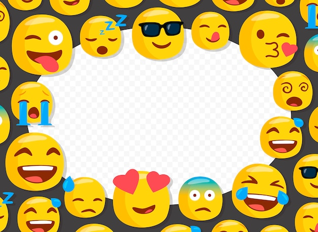 Marco de fotos de niños con divertidos emojis.