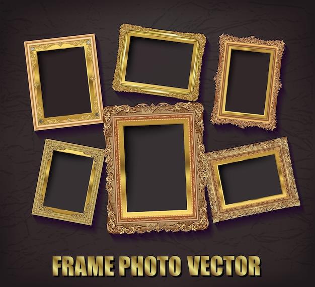 Marco de fotos de oro con esquina tailandia línea de flores para imagen
