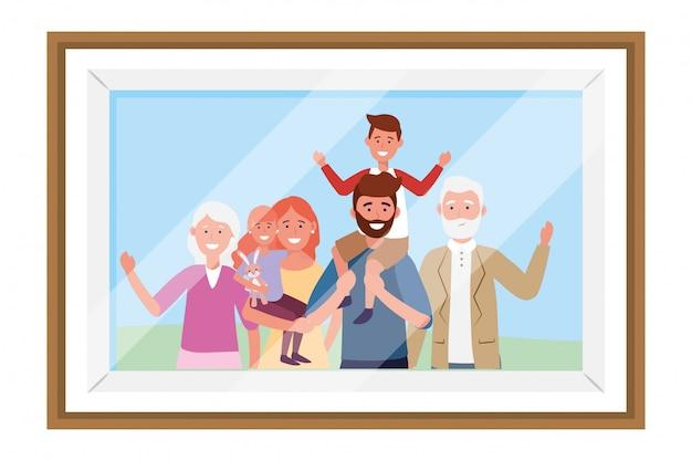 Marco de fotos de personaje de dibujos animados de avatar familiar
