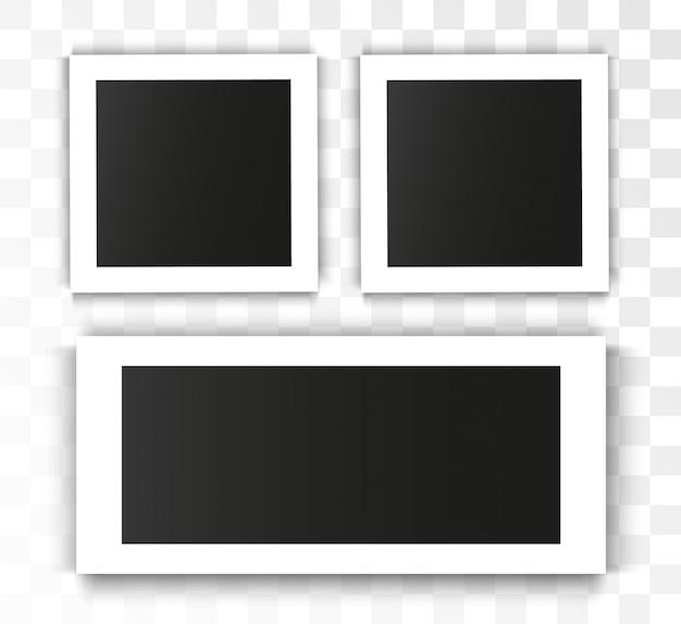 Marco de fotos realista sobre fondo transparente. conjunto de fotos