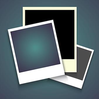 Marco de fotos realista con sombra, instantánea de fotografía vacía en blanco