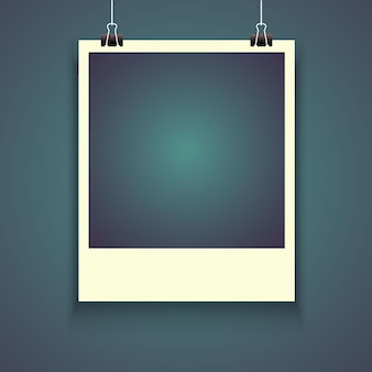 Marco de fotos realistas con sombra, instantánea vacía de la fotografía en blanco