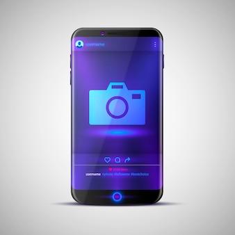 Marco de fotos de red social móvil. ilustración vectorial