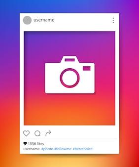 Marco de fotos de redes sociales. instagram. ilustración vectorial
