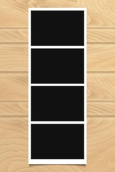 Marco de fotos en textura de madera. ilustración vectorial.