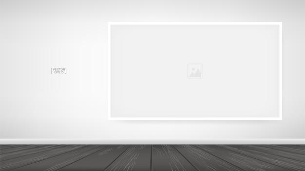 Marco de fotos vacío o fondo de marco de imagen en el fondo del espacio de la habitación de madera