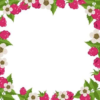Marco con frambuesas, hojas y flores blancas sobre blanco