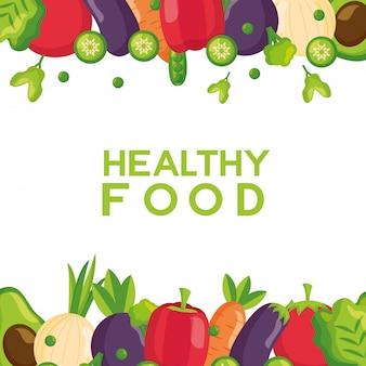Marco fresco de alimentos saludables