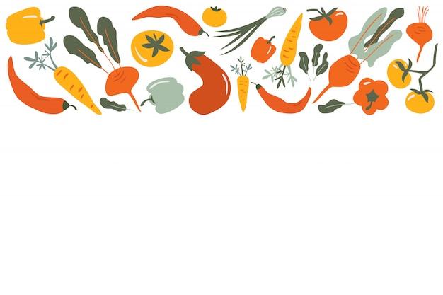 Marco de frontera de vector de comida de vegetales dibujados a mano plana