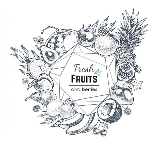 Marco de frutas y bayas, ilustración de comida estilo dibujado a mano