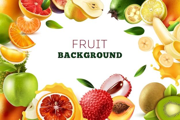 Marco de frutas realistas con lugar en el centro y un gran título sobre fondo blanco.