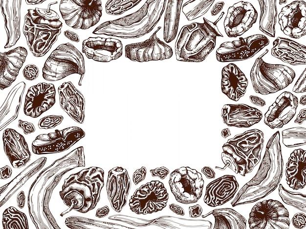 Marco de frutos secos y bayas. frutas deshidratadas vintage en plantilla de color. postre de comida saludable: mango seco, melón, higo, albaricoque, plátano, caqui, dátiles, ciruelas pasas. dulces orientales.