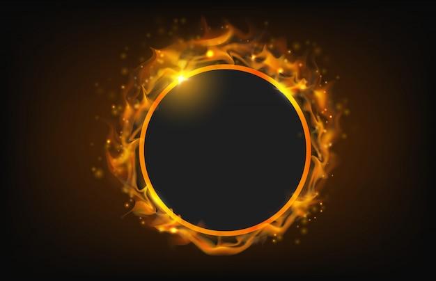 Marco de fuego círculo brillante con fondo abstracto de partículas