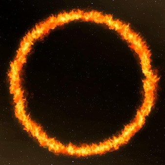 Marco de fuego de círculo naranja dramático