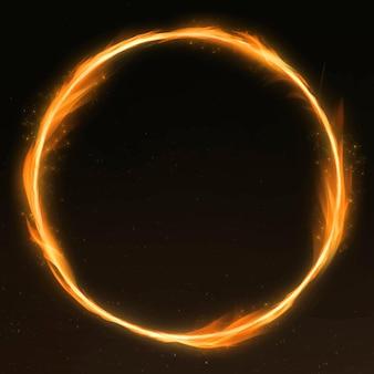 Marco de fuego retro círculo naranja