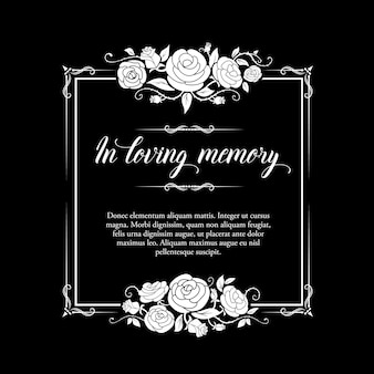 Marco de funeral con adorno de rosas y tipografía de condolencia.