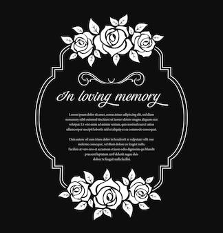 Marco de funeral con pésame de luto y flores rosas.