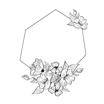 Marco de geometría moderna dibujado a mano estilizado para tarjeta con flores y hojas.