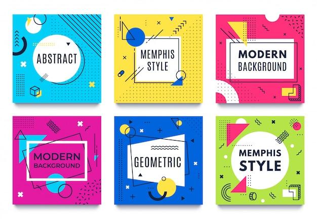 Marco geométrico abstracto. tarjetas cuadradas de memphis, rayas de colores funky y formas de puntos y citas marcos de texto conjunto de vectores de fondo