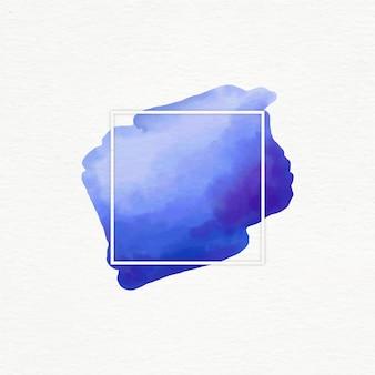 Marco geométrico blanco con mancha de acuarela