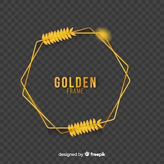 Marco geométrico dorado con efectos de luz