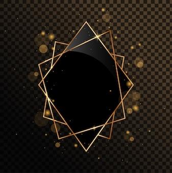 Marco geométrico dorado con espejo negro. aislado sobre fondo negro transparente.