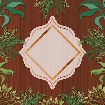 Marco geométrico dorado con fondo de hierbas y madera.