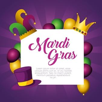 Marco con globos y corona con plantilla de tarjeta para mardi gras