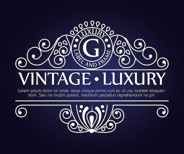 Marco gráfico de lujo vintage para etiqueta o logotipo con adornos