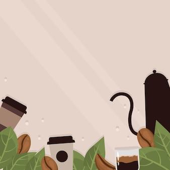 Marco de granos de café sobre fondo beige tazas de cafetería frijoles y hojas de café