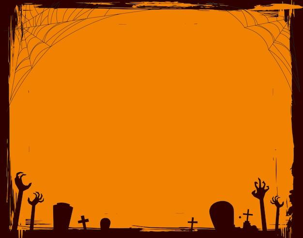 Marco de grunge de halloween en forma horizontal