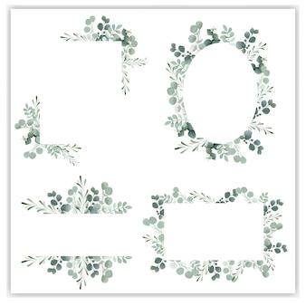 Marco de guirnalda en blanco con eucalipto verde