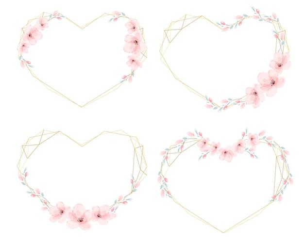 Marco de guirnalda dorada de corazón de flor de cerezo de acuarela
