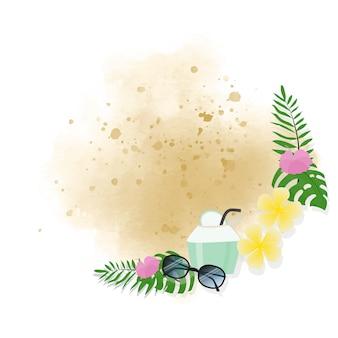 Marco de guirnalda de elementos de verano sobre fondo de arena color de agua