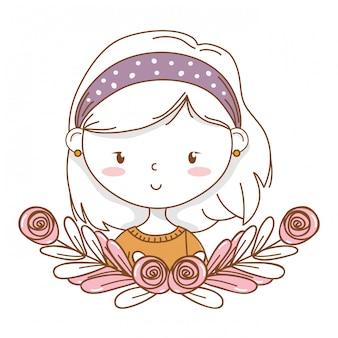 Marco de guirnalda floral de retrato de chica linda caricatura elegante traje