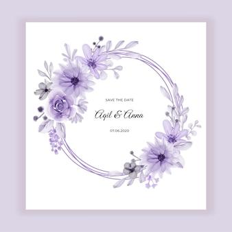 Marco de guirnalda de flores con acuarela de flores púrpuras suaves