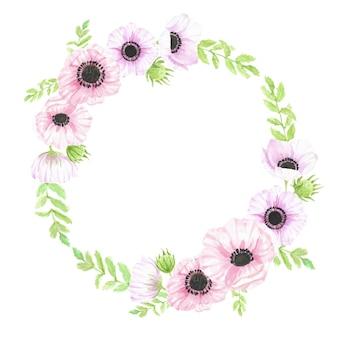 Marco de guirnalda de flores de anémona dibujada a mano acuarela