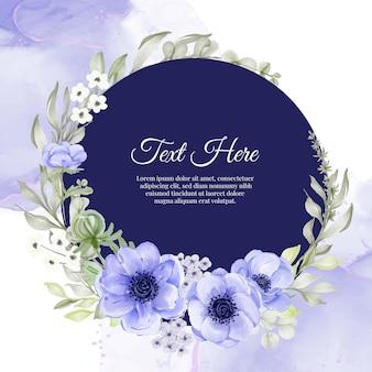 Marco de guirnalda de flores de anémona de flor púrpura