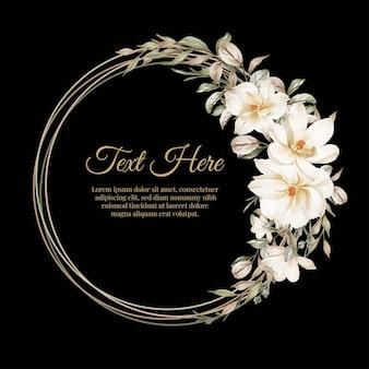 Marco de guirnalda de flores de anémona púrpura marco de guirnalda de flores de magnolia flor blanca