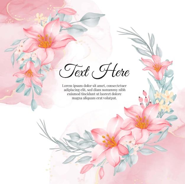 Marco de guirnalda de flores de flor de lirio rosa